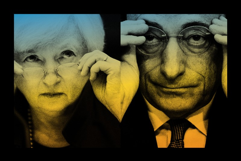 An illustration combining images of Janet Yellen and Mario Draghi.