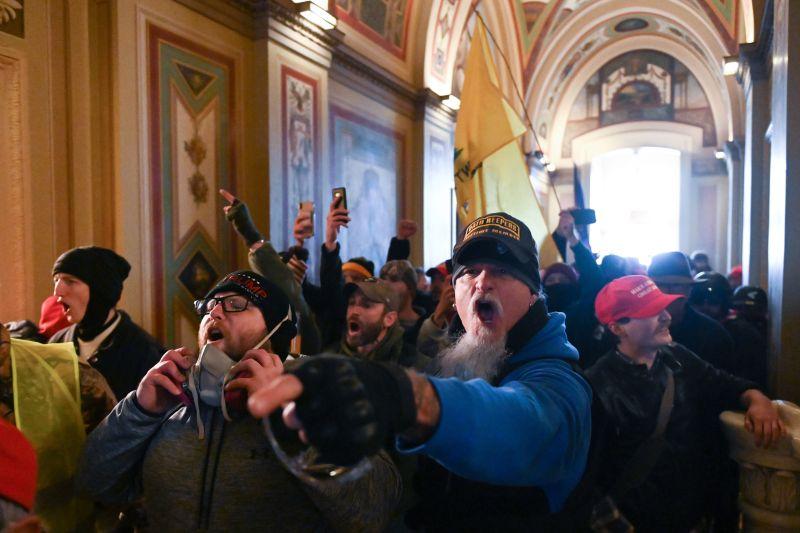 Protestors inside the U.S. Capitol.