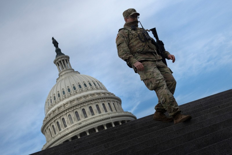 A member of the National Guard at the U.S. Capitol.