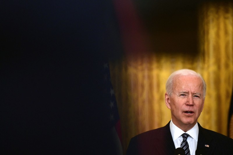 Biden speaks about national vaccine efforts at the White House.