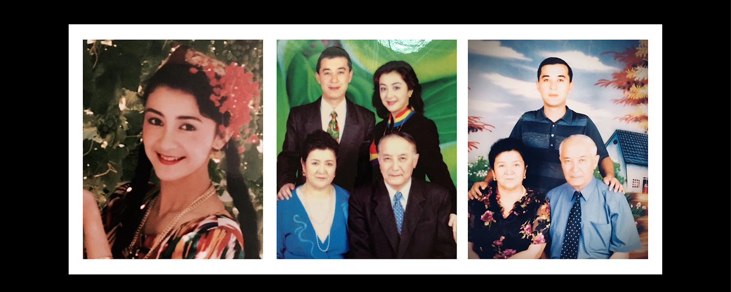 "Left: Gulchehra Hoja on a Xinjiang television program in 1993. Center: A family portrait of Hoja and her mother, father, and younger brother in Urumqi in June 2001. Right: A portrait of Hoja's family in Urumqi in 2005 after her departure. ""My father's hair turned pure white in a couple of years after I left,"" she said. Courtesy of Gulchehra Hoja"