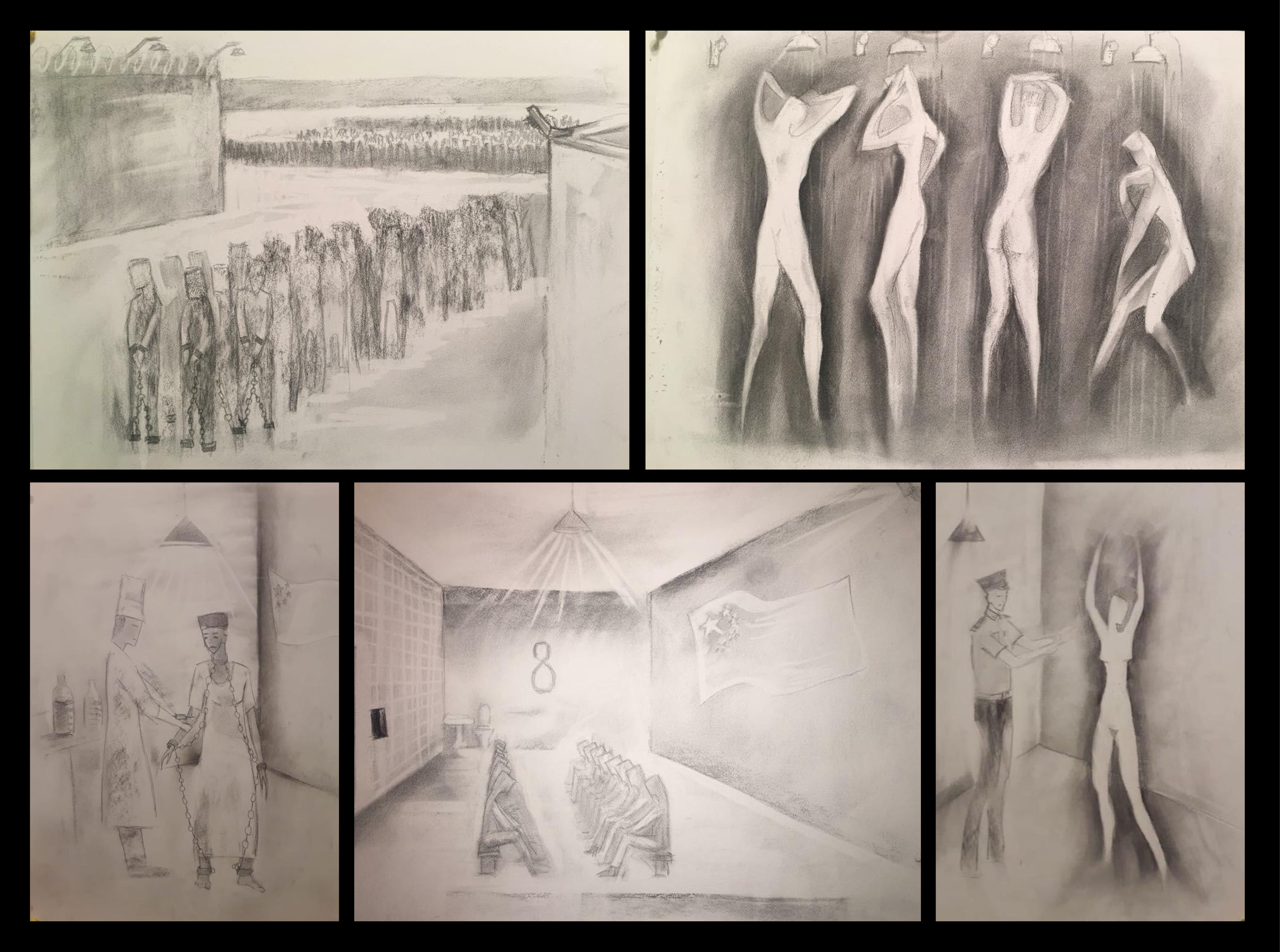 Drawings by Sophia, who asked to use a pseudonym, depict scenes inside a camp in Xinjiang.