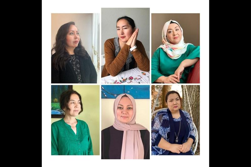 Portraits of six Uyghur women.