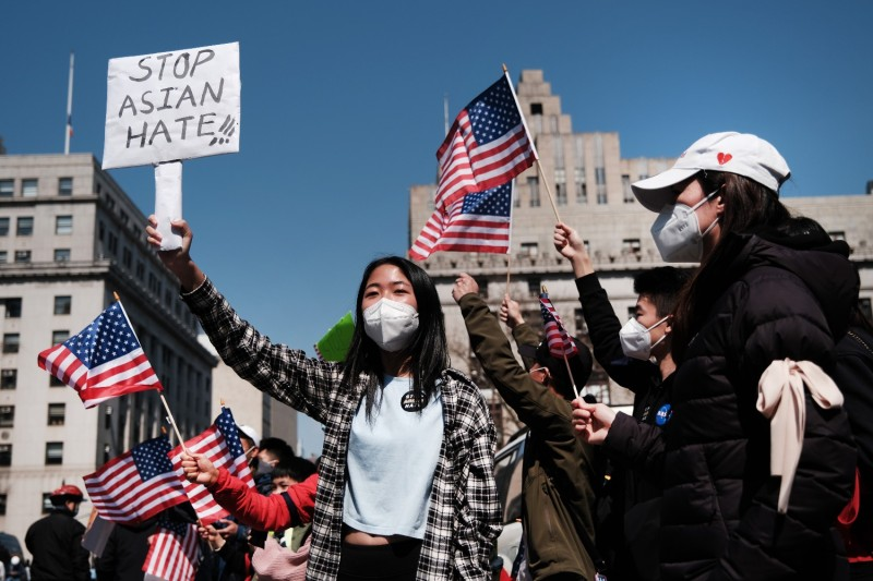 People protest against anti-Asian violence.