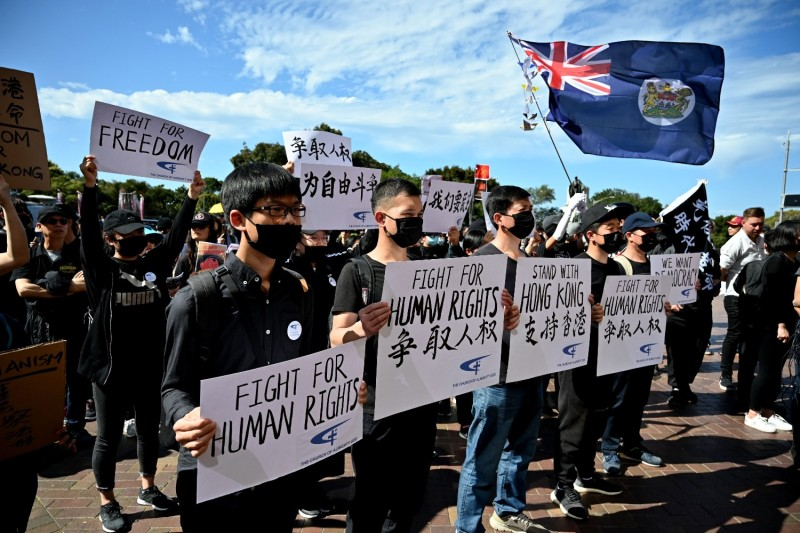 Supporters of the Hong Kong pro-democracy protesters in Sydney.