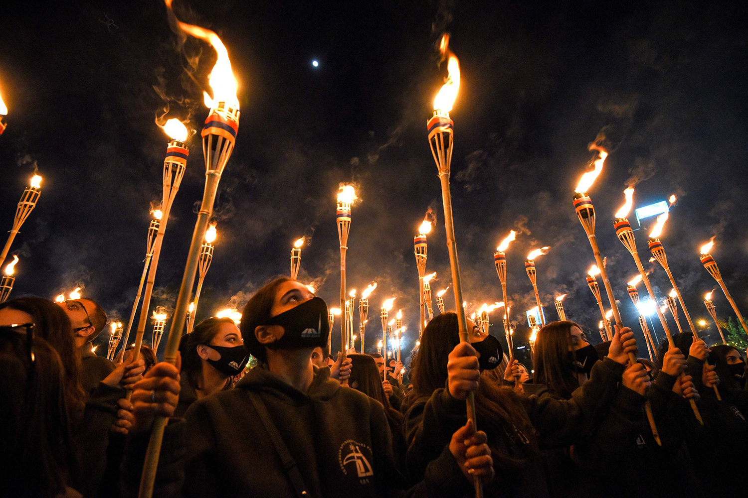 Armenians take part in a torchlight procession in Yerevan on April 23 to mark the 106th anniversary of the World War I-era Armenian genocide. KAREN MINASYAN/AFP via Getty Images
