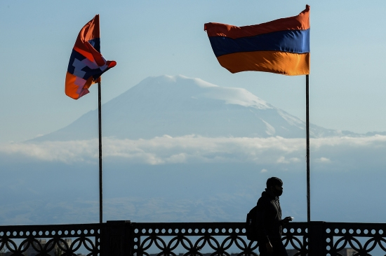 Mount Ararat and flags