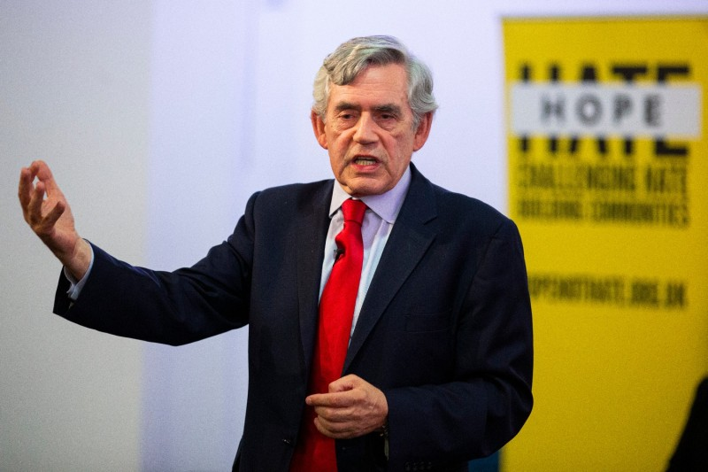 "Former Prime Minister Gordon Brown speaks at a ""No to No-Deal"" rally."