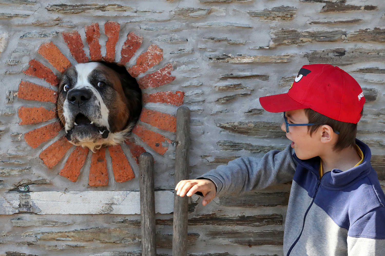 A boy attempts to pet a dog that put its face through a hole in a house's wall in the village of Alle-sur-Semois, Belgium, on April 25. Yves Herman/Reuters