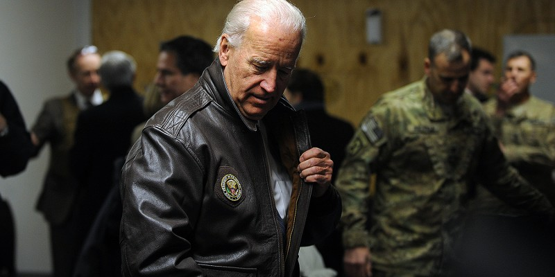 Then-U.S. Vice President Joe Biden arrives at a U.S. base in Maidan Shar.