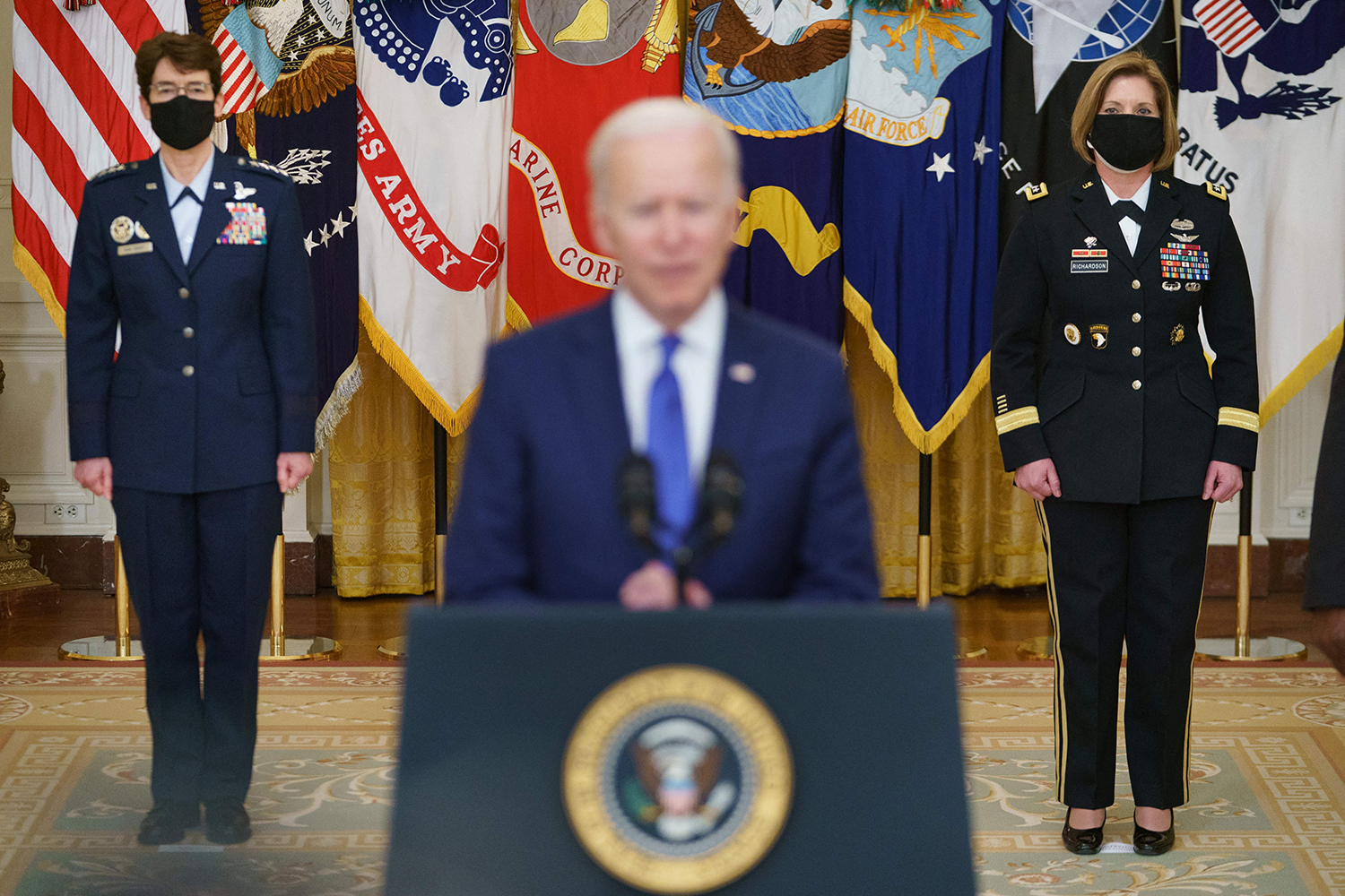 President Joe Biden and Gen. Jacqueline Van Ovost and Lt. Gen. Laura Richardson during their nomination to key military positions at the White House.