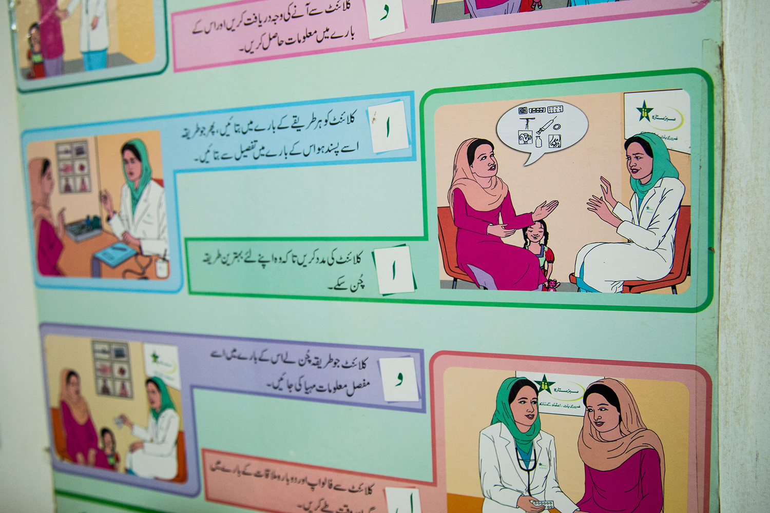 A poster about birth control in a women's health center in Islamabad.