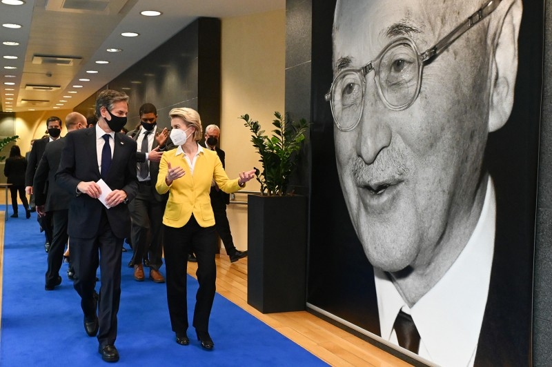 Blinken meets von der Leyen in Brussels.