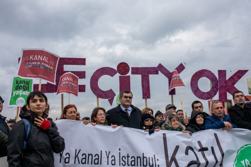 Residents of Istanbul protest the Kanal Istanbul project in Istanbul on Jan. 12, 2020.