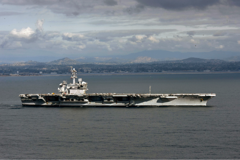 A U.S. aircraft carrier leaves its San Diego port.