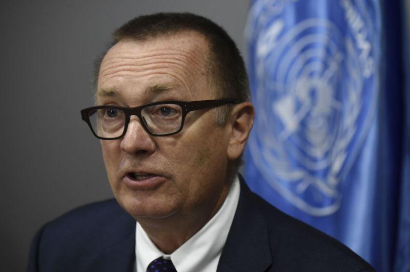 Jeffrey Feltman, then-U.N. undersecretary-general for political affairs, speaks in Colombia.