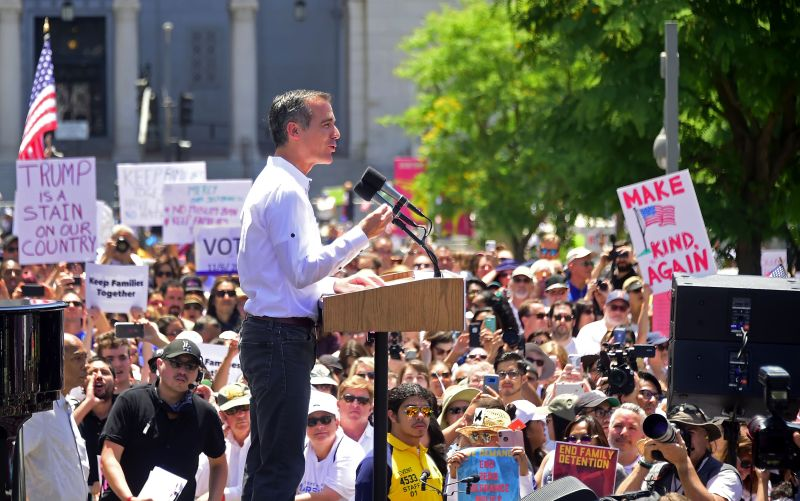 Los Angeles Mayor Eric Garcetti addresses a crowd of protesters opposed to Trump administration immigration policies in Los Angeles on June 30, 2018.