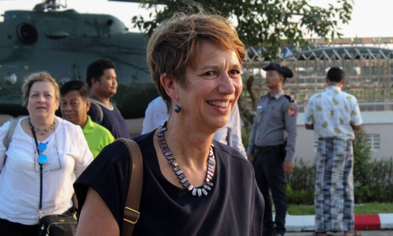 Christine Schraner Burgener arrives at Sittwe Airport in Myanmar's Rakhine State.