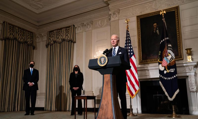 U.S. President Joe Biden speaks about climate change issues,