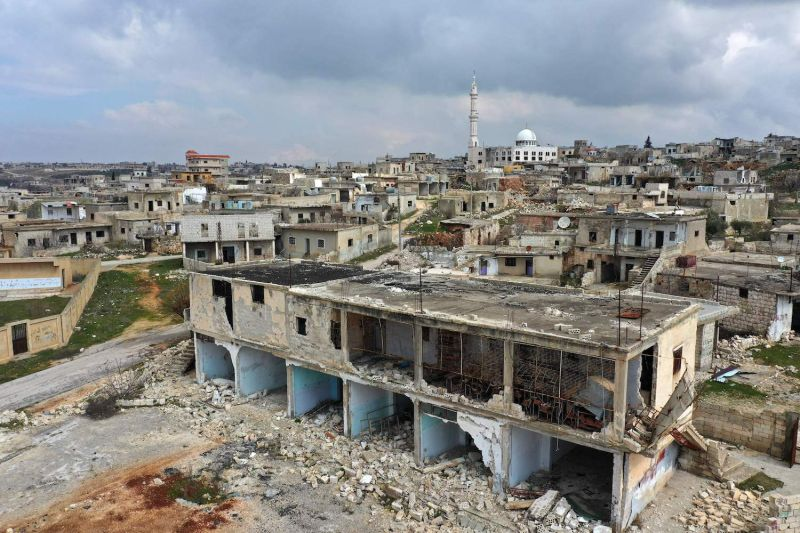 A view of a damaged school building due to bombardment by pro-government forces in Kansafra, in Syria's Idlib province, on March 3.