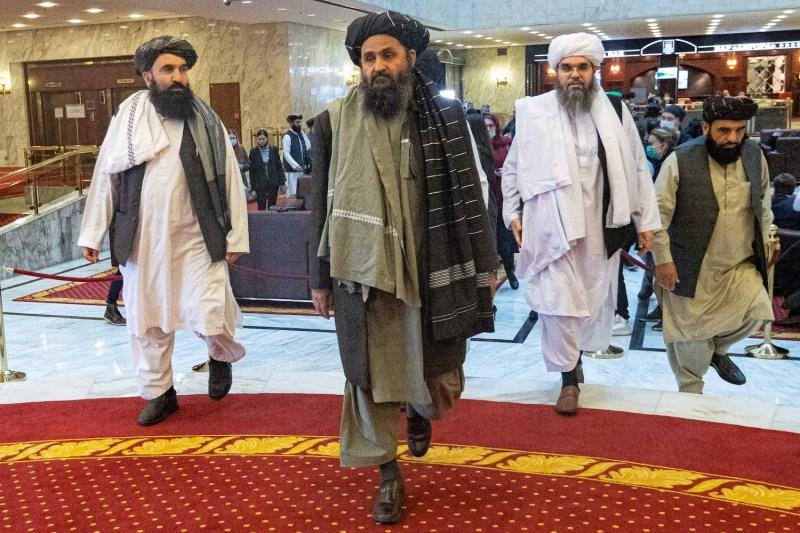 Taliban co-founder Mullah Abdul Ghani Baradar arrives for peace talks in Moscow.