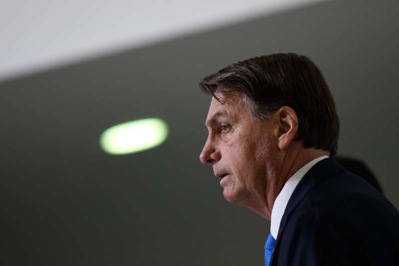 Brazilian President Jair Bolsonaro speaks during a pronouncement on new COVID-19 emergency aid.