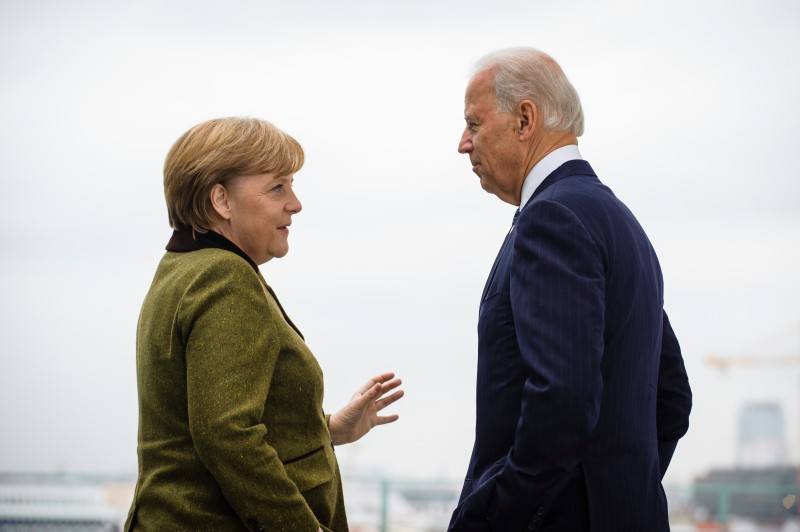 Angela Merkel (L) speaks with Joe Biden at the start of their meeting at the Chancellery on Feb. 1, 2013 in in Berlin.