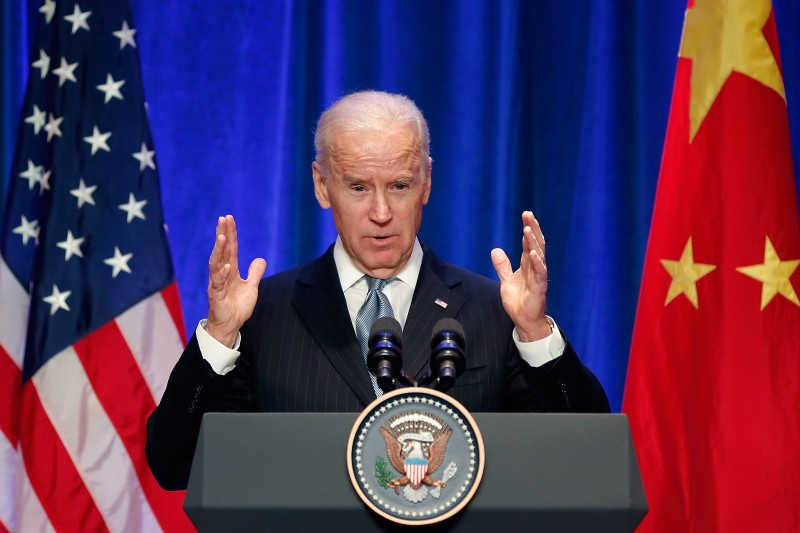 Joe Biden speaks at a business leader breakfast.