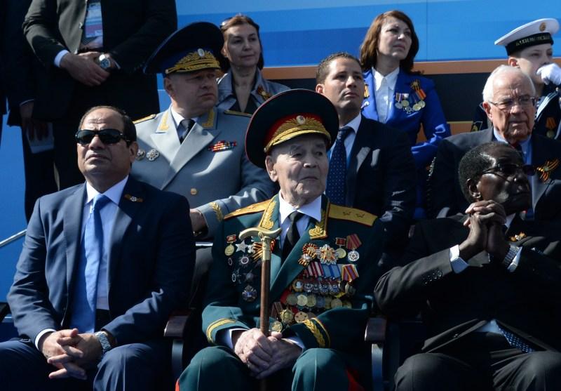 Abdel Fattah al-Sisi attends a military parade.