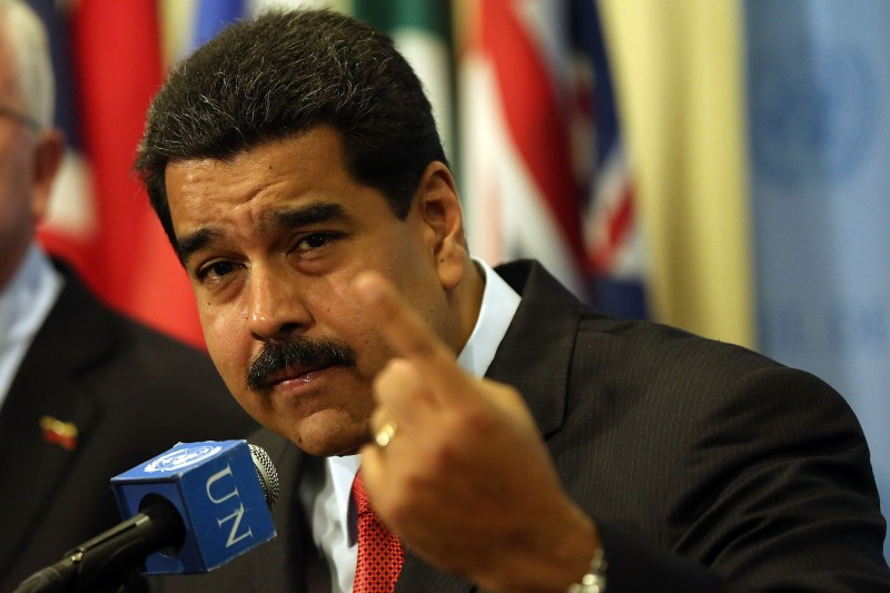Venezuelan President Nicolas Maduro speaks to the media at the United Nations headquarters in New York on July 28, 2015.