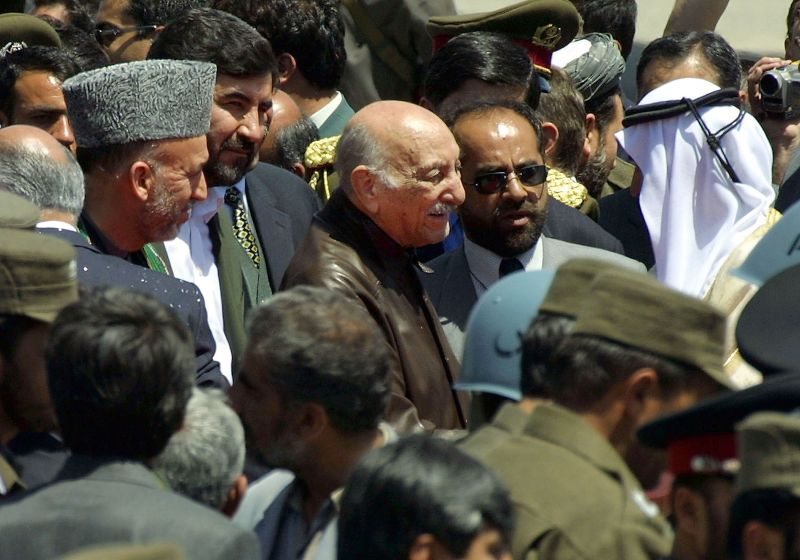 Former Afghan King Mohammed Zahir Shah arrives at Kabul's international airport.