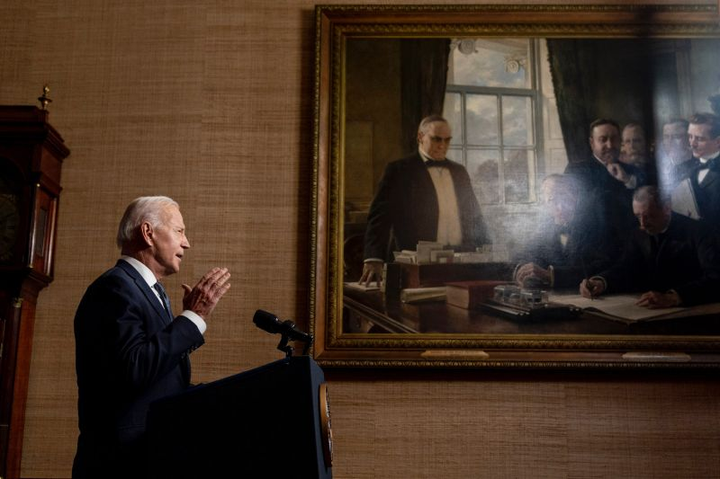U.S. President Joe Biden speaks about the withdrawal of U.S. troops from Afghanistan from the Treaty Room in the White House in Washington, on April 14.