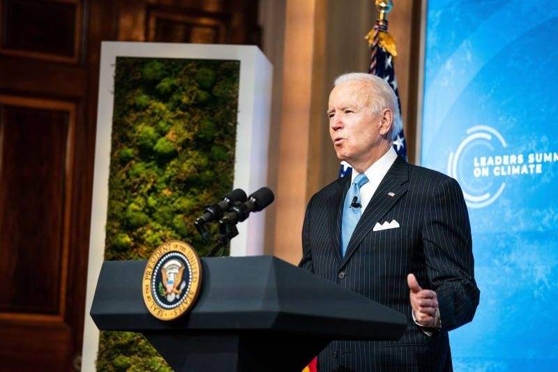 U.S. President Joe Biden delivers remarks during Day Two of the virtual Leaders Summit on Climate at the East Room of the White House in Washington on April 23.