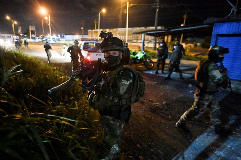Colombian Marine Infantry soldiers patrol the streets of Buenaventura, Colombia, on Feb. 10.