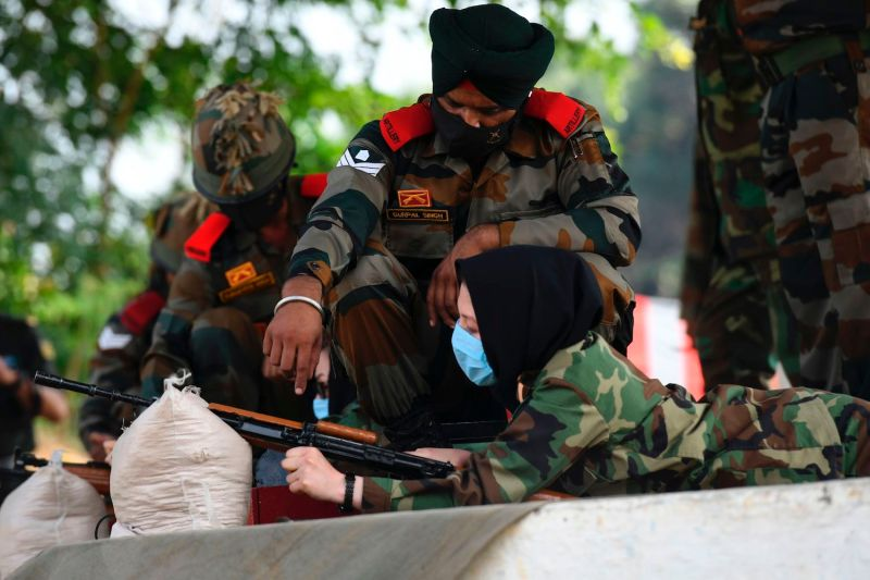Afghan cadets take part in a firing exercise during a training program at the Officers Training Academy in Chennai, India, on Feb. 18.