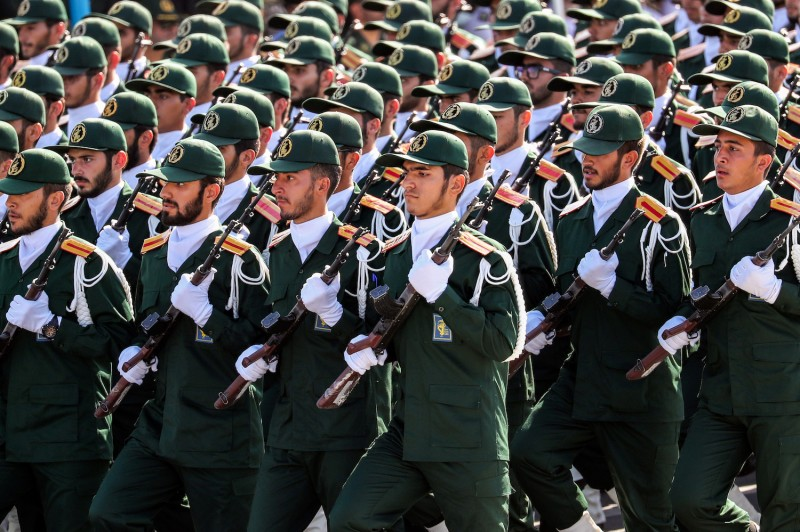 Members of Iran's Islamic Revolutionary Guard Corps march during the annual military parade in Tehran, on Sept. 22, 2018.