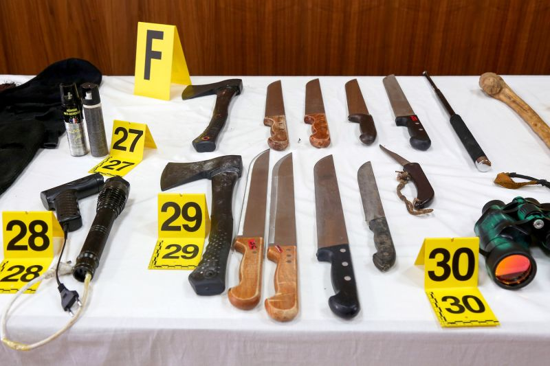 Bladed weapons seized from an Islamic State-affiliated cell are seen during a press conference by the director of Morocco's Central Bureau of Judicial Investigation in Sale, near Rabat, on Sept. 11, 2020.