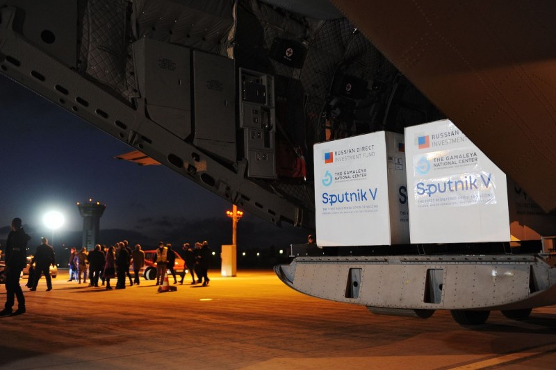 A Slovak Armed Forces aircraft unloads doses of the Sputnik V vaccine at the Kosice International Airport in Slovakia, on March 1.