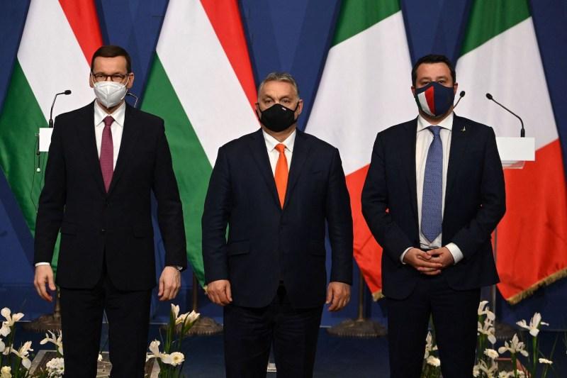 Polish Prime Minister Mateusz Morawiecki, Hungarian Prime Minister Viktor Orban, and Italian Lega party leader Matteo Salvini
