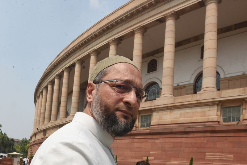 Asaduddin Owaisi arrives at Parliament House in New Delhi.
