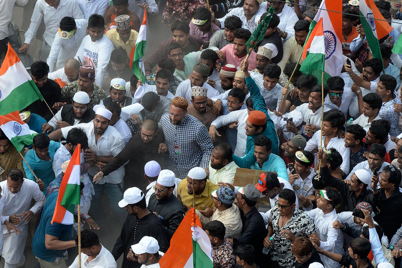 Asaddudin Owaisi at a demonstration.