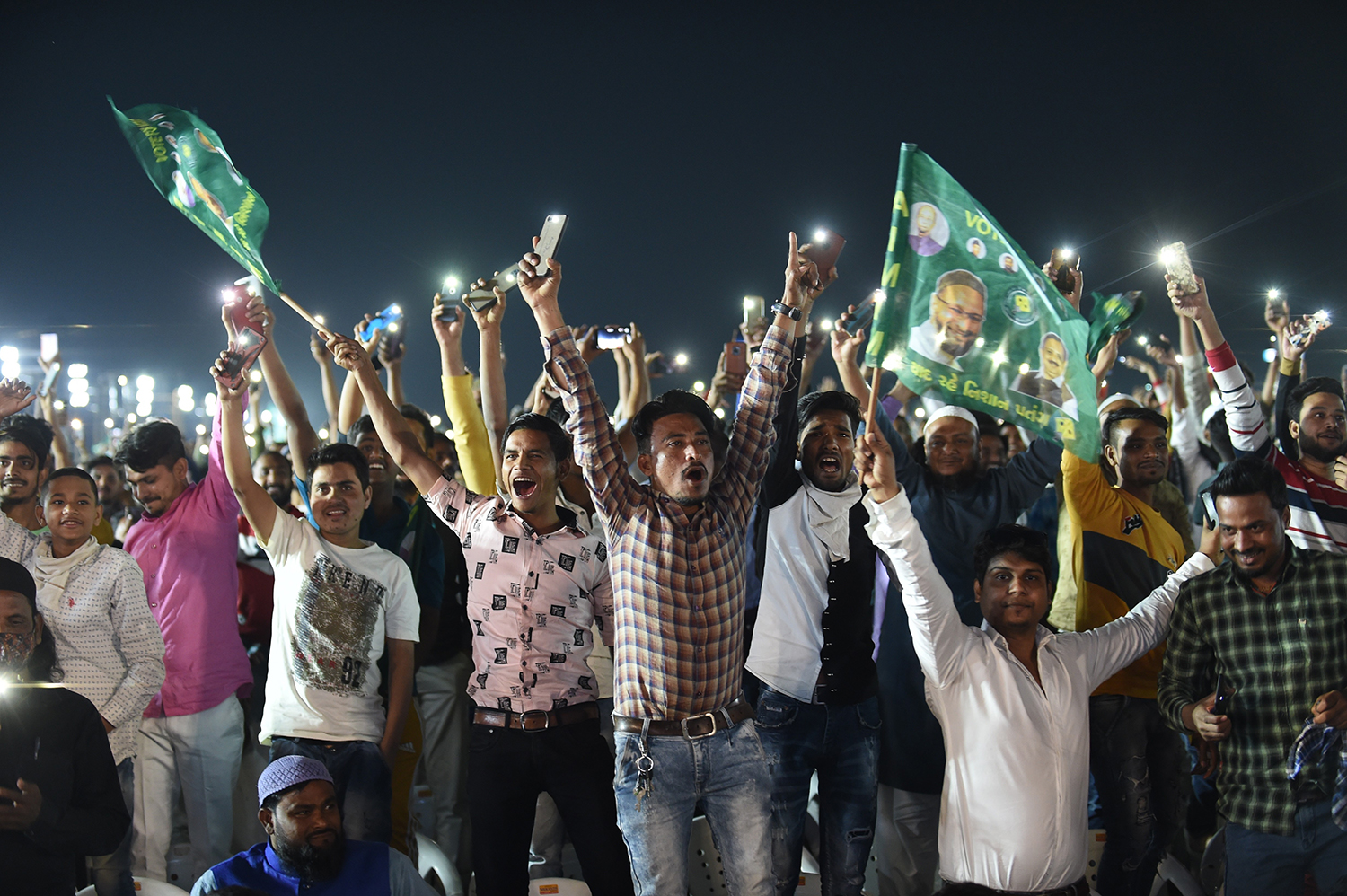 A campaign rally for Asadduin Owaisi.