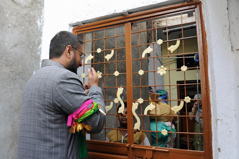 Asaduddin Owaisi on a campaign visit.