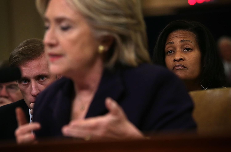 Jake Sullivan and Hillary Clinton during Benghazi testimony.