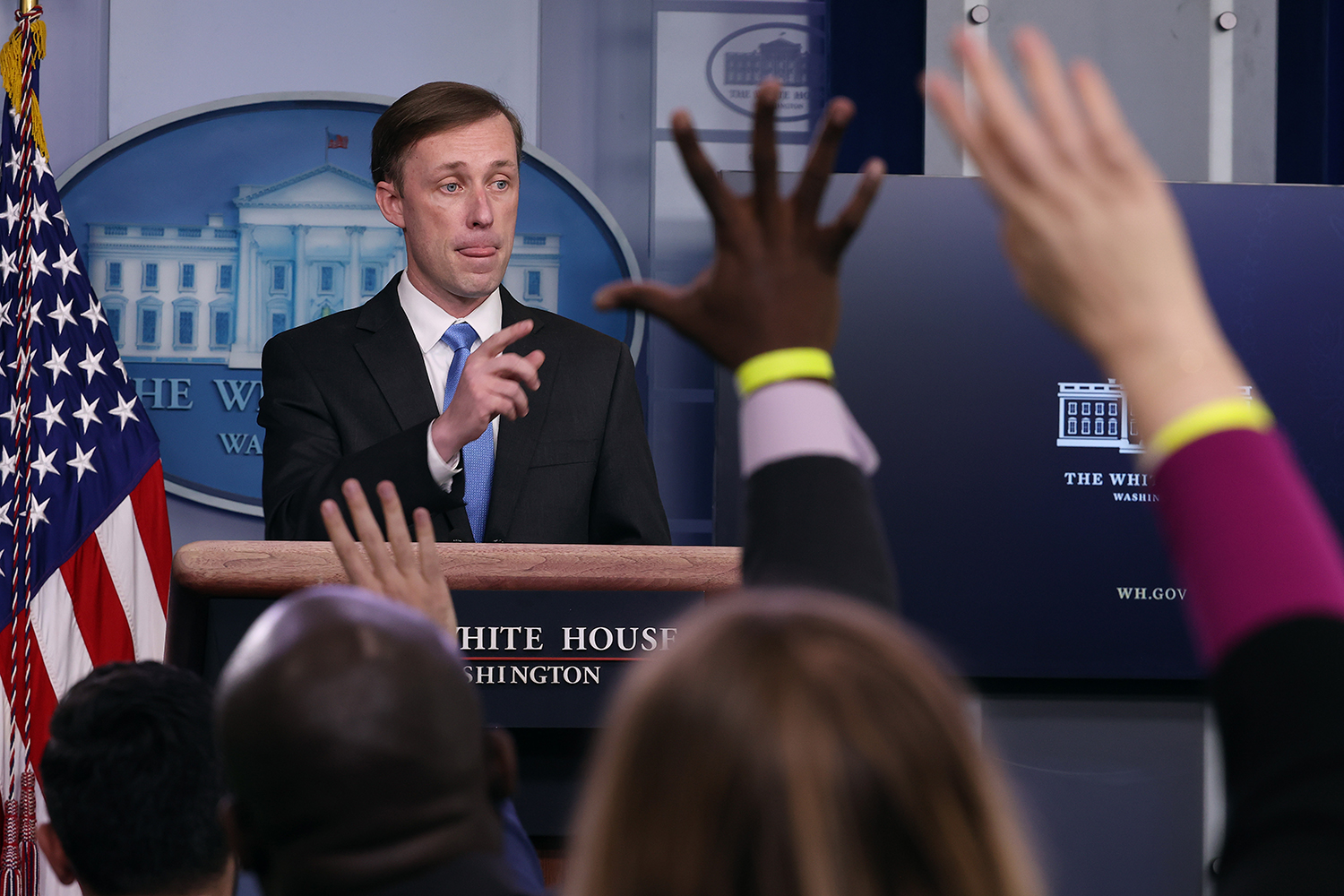 Jake Sullivan in the White House briefing room.