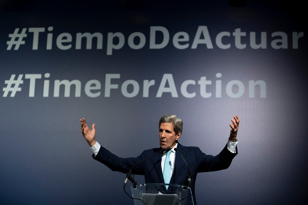 Former U.S. Secretary of State John Kerry speaks at the United Nations Climate Conference.