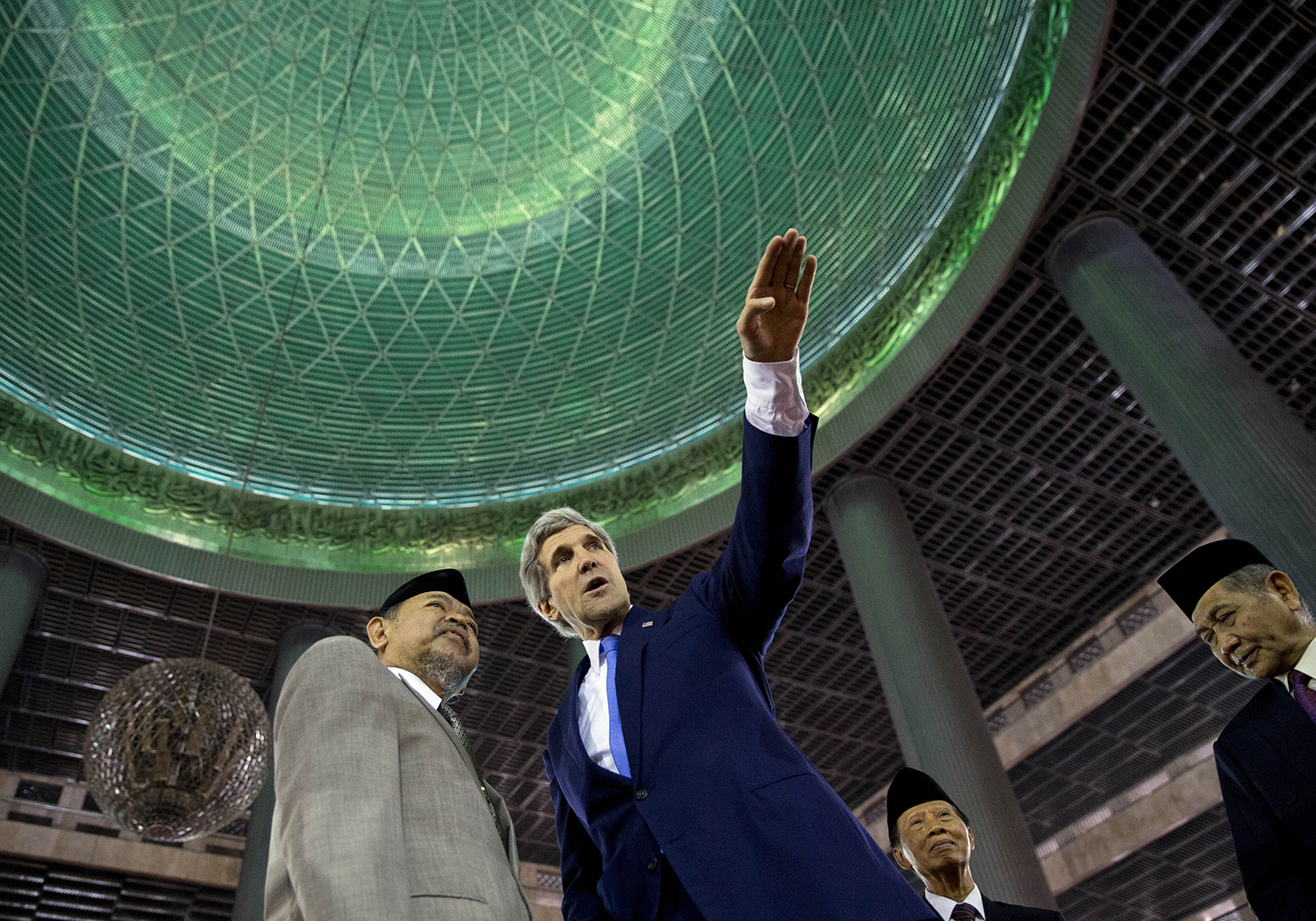 Kerry, then U.S. Secretary of State, visits the Istiqlal Mosque in Jakarta on Feb. 16, 2014. Kerry arrived in Indonesia on a visit to highlight concerns over climate change, after agreeing with China to boost joint efforts to fight global warming.