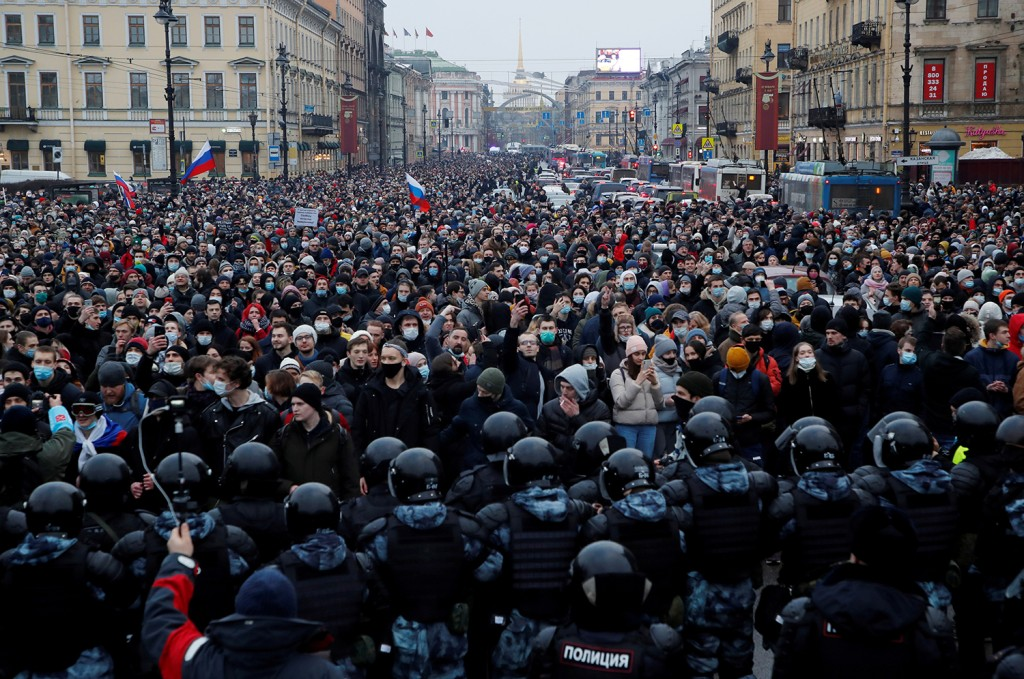 A mass protest in support of Russian opposition leader Alexei Navalny in Moscow.