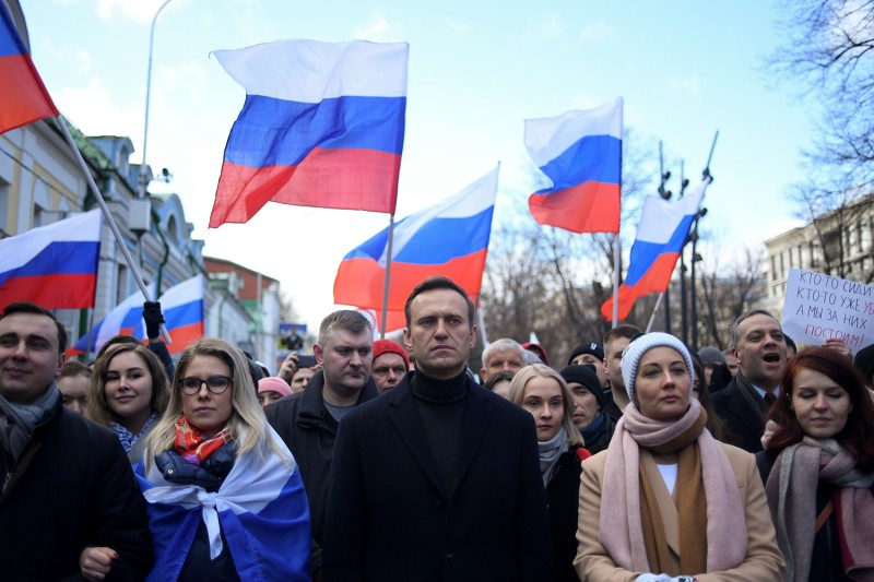 Alexei Navalny marches in a protest in 2017.