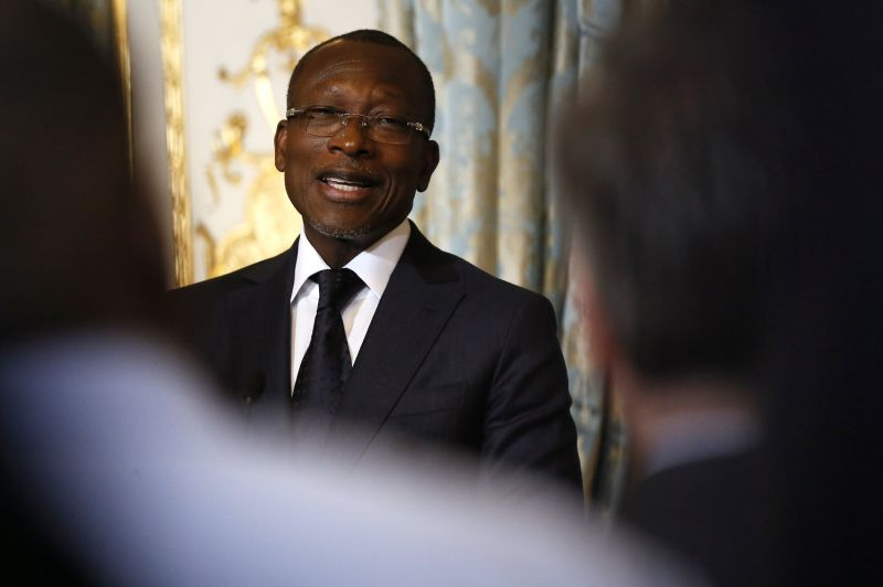 Benin's President Patrice Talon at a press conference in Paris.